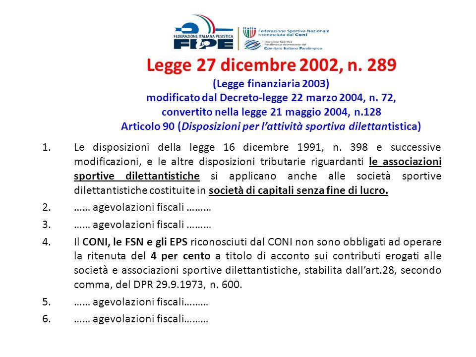 Legge 27 dicembre 2002, n. 289 (Legge finanziaria 2003) modificato dal Decreto-legge 22 marzo 2004, n. 72, convertito nella legge 21 maggio 2004, n.12