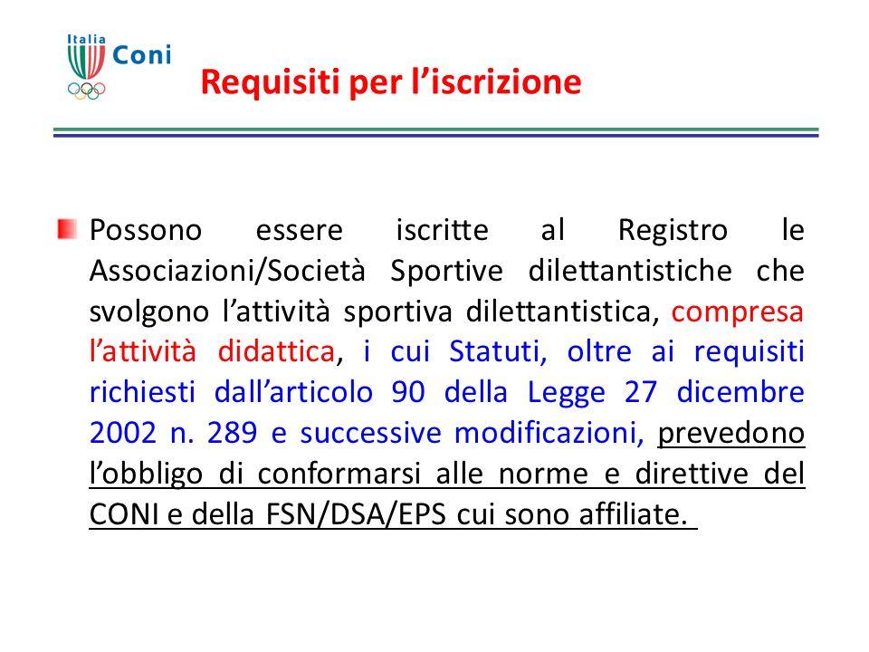 Requisiti per liscrizione Possono essere iscritte al Registro le Associazioni/Società Sportive dilettantistiche che svolgono lattività sportiva dilett