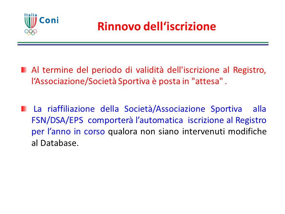 Rinnovo delliscrizione Al termine del periodo di validità dell'iscrizione al Registro, lAssociazione/Società Sportiva è posta in