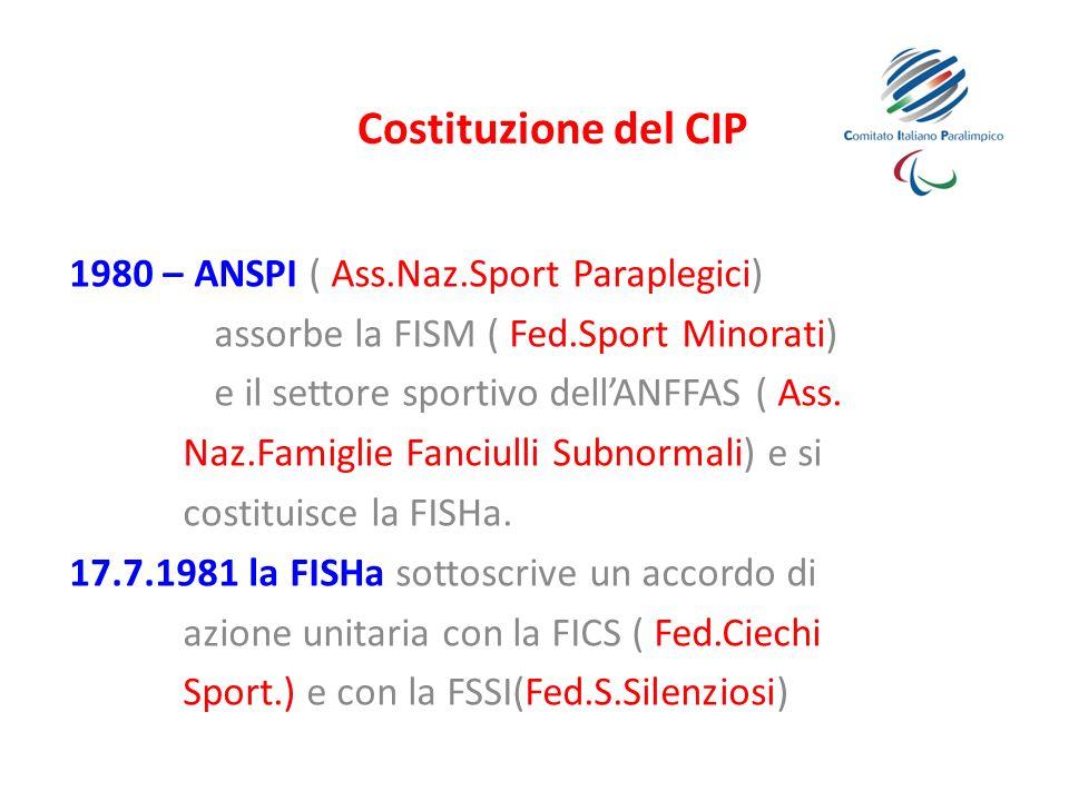 Costituzione del CIP 1980 – ANSPI ( Ass.Naz.Sport Paraplegici) assorbe la FISM ( Fed.Sport Minorati) e il settore sportivo dellANFFAS ( Ass. Naz.Famig