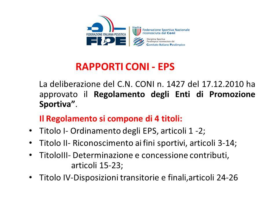 RAPPORTI CONI - EPS La deliberazione del C.N. CONI n. 1427 del 17.12.2010 ha approvato il Regolamento degli Enti di Promozione Sportiva. Il Regolament