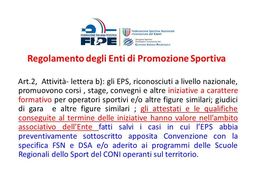 Regolamento degli Enti di Promozione Sportiva Art.2, Attività- lettera b): gli EPS, riconosciuti a livello nazionale, promuovono corsi, stage, convegn