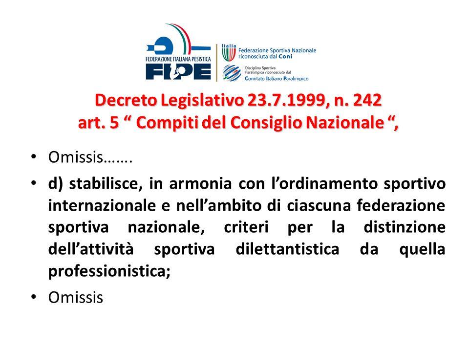 Decreto Legislativo 23.7.1999, n. 242 art. 5 Compiti del Consiglio Nazionale, Omissis……. d) stabilisce, in armonia con lordinamento sportivo internazi