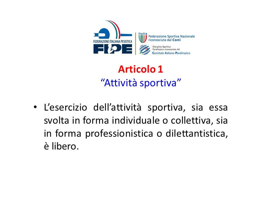 Articolo 1 Attività sportiva Lesercizio dellattività sportiva, sia essa svolta in forma individuale o collettiva, sia in forma professionistica o dile