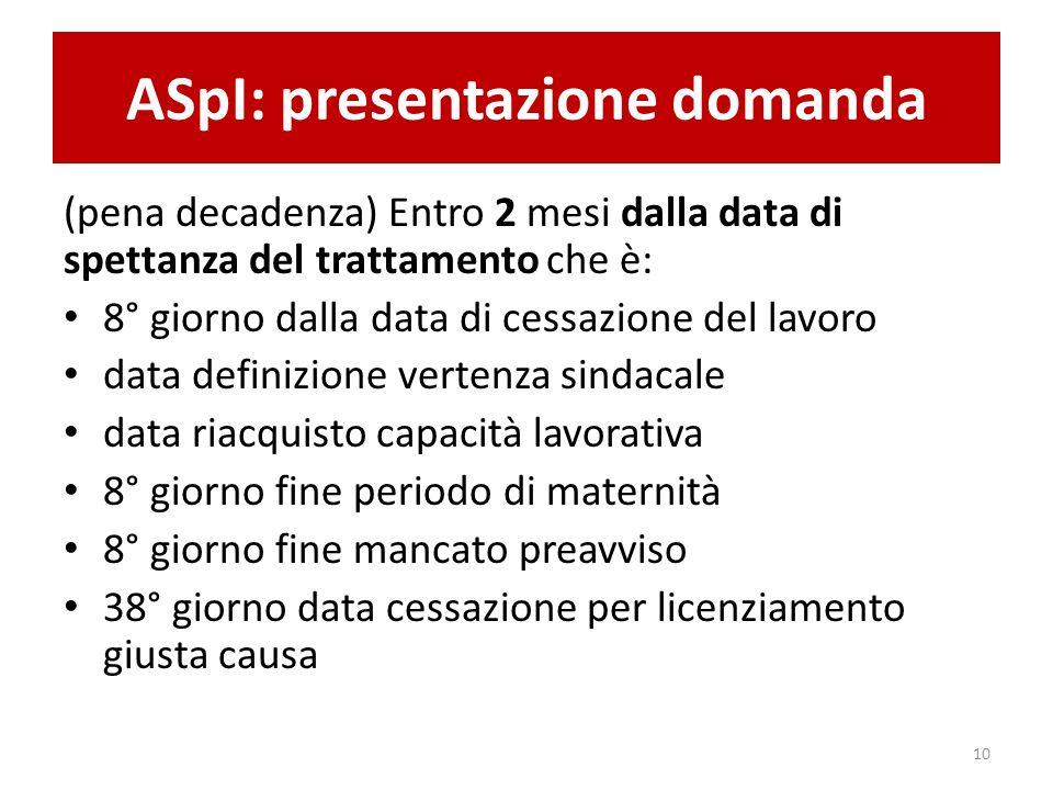 ASpI: presentazione domanda (pena decadenza) Entro 2 mesi dalla data di spettanza del trattamento che è: 8° giorno dalla data di cessazione del lavoro