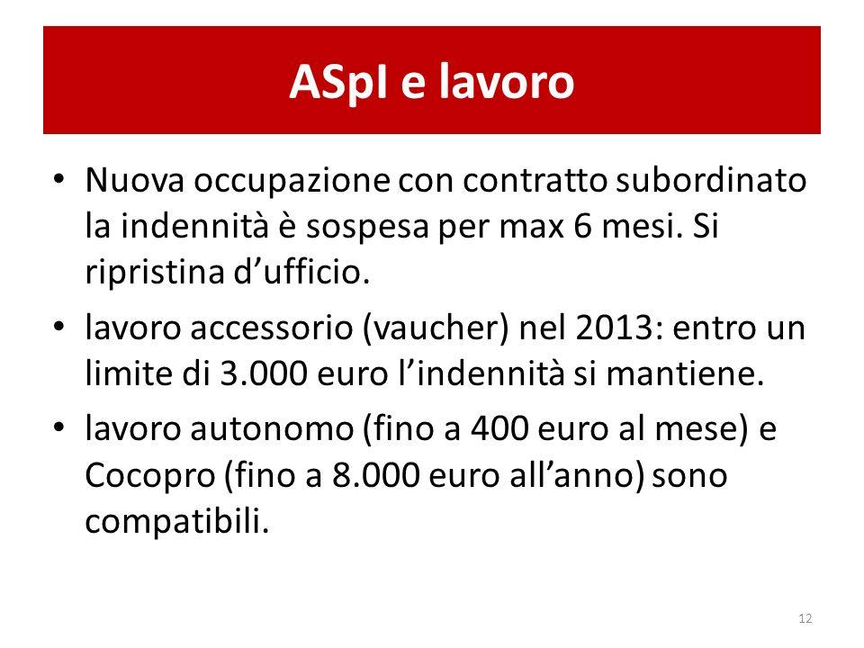 ASpI e lavoro Nuova occupazione con contratto subordinato la indennità è sospesa per max 6 mesi.