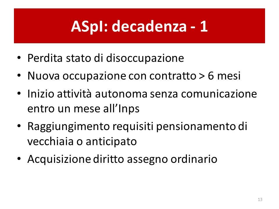 ASpI: decadenza - 1 Perdita stato di disoccupazione Nuova occupazione con contratto > 6 mesi Inizio attività autonoma senza comunicazione entro un mes