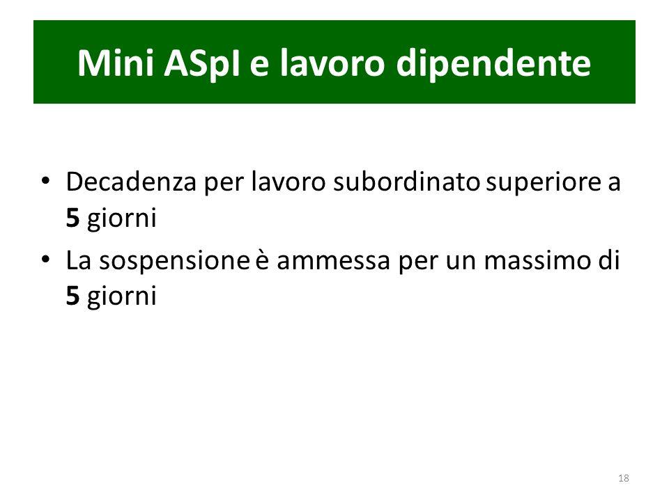 Mini ASpI e lavoro dipendente Decadenza per lavoro subordinato superiore a 5 giorni La sospensione è ammessa per un massimo di 5 giorni 18