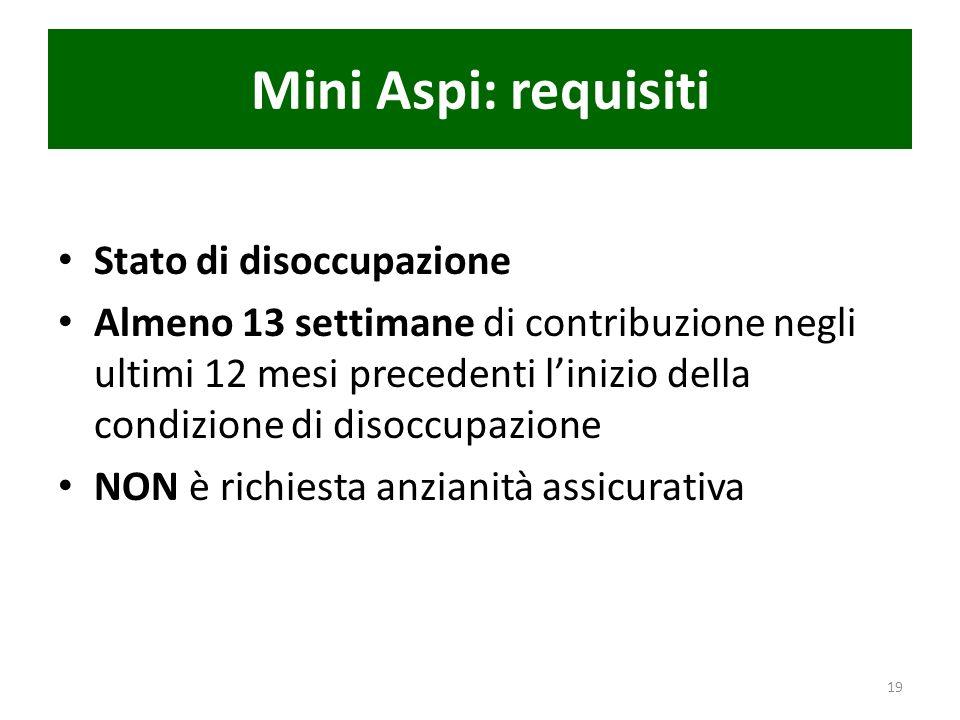 Mini Aspi: requisiti Stato di disoccupazione Almeno 13 settimane di contribuzione negli ultimi 12 mesi precedenti linizio della condizione di disoccup