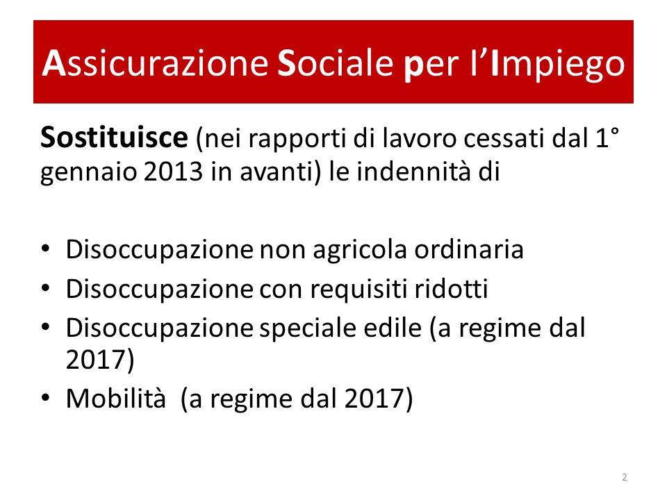 Assicurazione Sociale per IImpiego Sostituisce (nei rapporti di lavoro cessati dal 1° gennaio 2013 in avanti) le indennità di Disoccupazione non agric