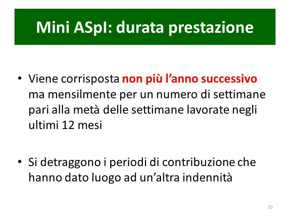 Mini ASpI: durata prestazione Viene corrisposta non più lanno successivo ma mensilmente per un numero di settimane pari alla metà delle settimane lavo