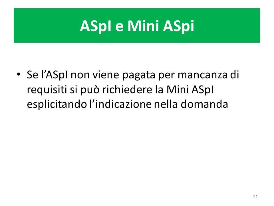 ASpI e Mini ASpi Se lASpI non viene pagata per mancanza di requisiti si può richiedere la Mini ASpI esplicitando lindicazione nella domanda 21