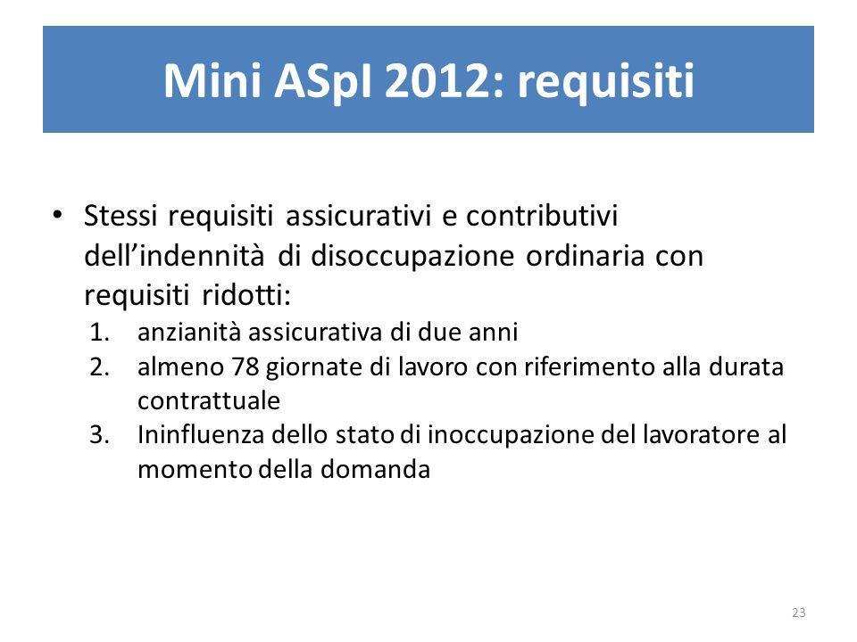 Mini ASpI 2012: requisiti Stessi requisiti assicurativi e contributivi dellindennità di disoccupazione ordinaria con requisiti ridotti: 1.anzianità as