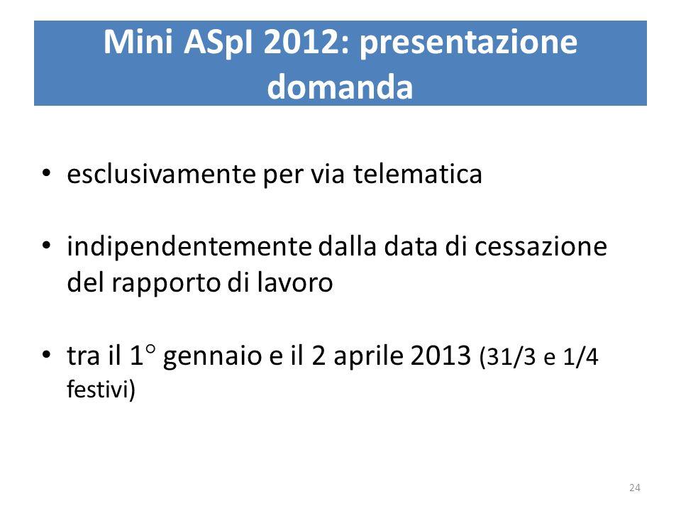 Mini ASpI 2012: presentazione domanda esclusivamente per via telematica indipendentemente dalla data di cessazione del rapporto di lavoro tra il 1° ge