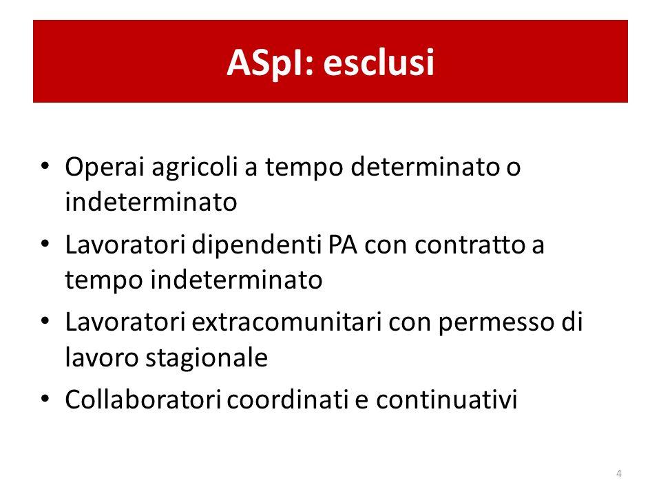 ASpI: esclusi Operai agricoli a tempo determinato o indeterminato Lavoratori dipendenti PA con contratto a tempo indeterminato Lavoratori extracomunit