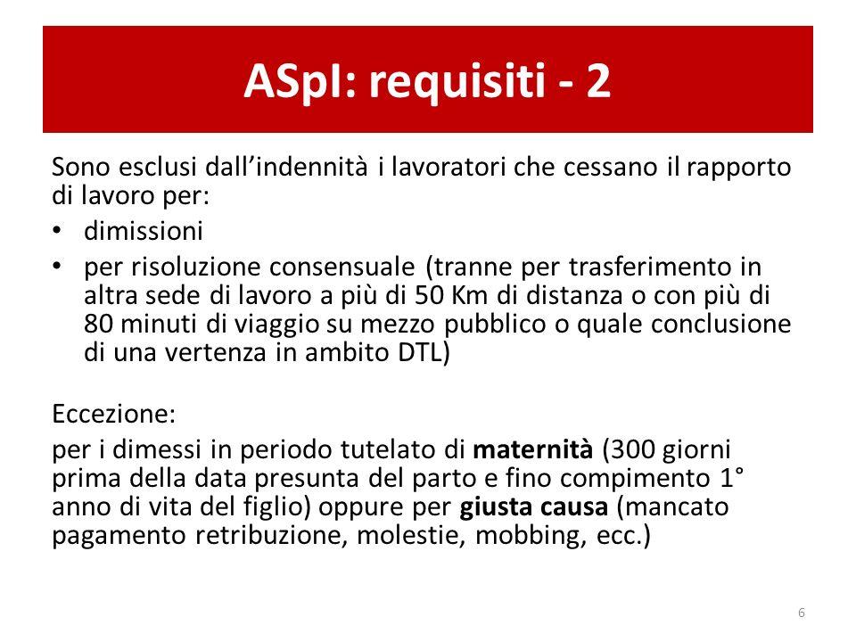 ASpI: requisiti - 2 Sono esclusi dallindennità i lavoratori che cessano il rapporto di lavoro per: dimissioni per risoluzione consensuale (tranne per