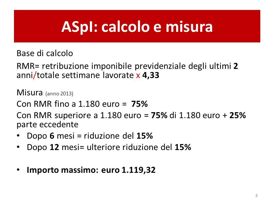 ASpI: calcolo e misura Base di calcolo RMR= retribuzione imponibile previdenziale degli ultimi 2 anni/totale settimane lavorate x 4,33 Misura (anno 2013) Con RMR fino a 1.180 euro = 75% Con RMR superiore a 1.180 euro = 75% di 1.180 euro + 25% parte eccedente Dopo 6 mesi = riduzione del 15% Dopo 12 mesi= ulteriore riduzione del 15% Importo massimo: euro 1.119,32 8