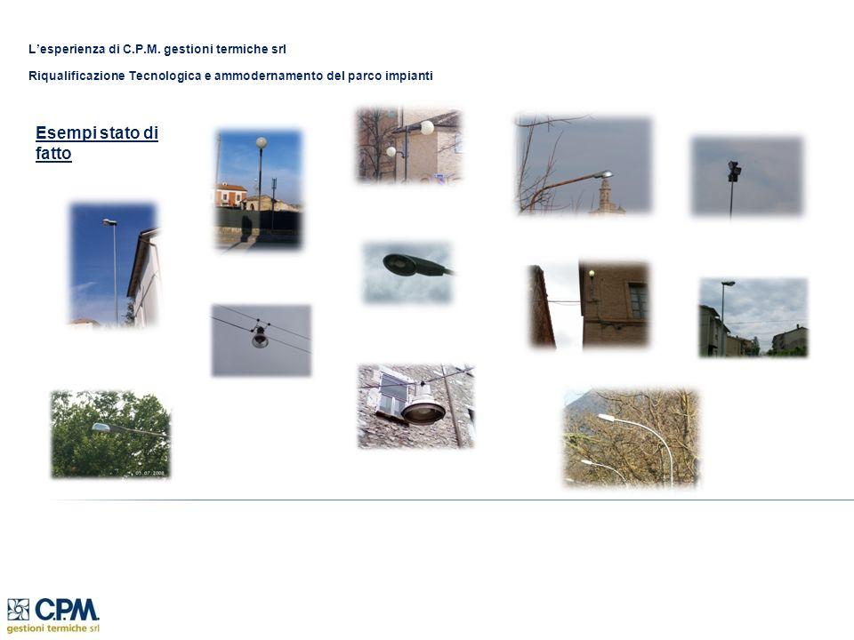 Lesperienza di C.P.M. gestioni termiche srl Riqualificazione Tecnologica e ammodernamento del parco impianti Esempi stato di fatto