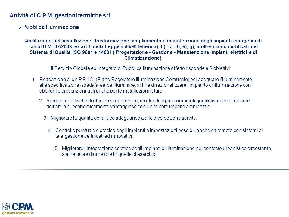 Attività di C.P.M. gestioni termiche srl Pubblica Illuminazione Abilitazione nellinstallazione, trasformazione, ampliamento e manutenzione degli impia