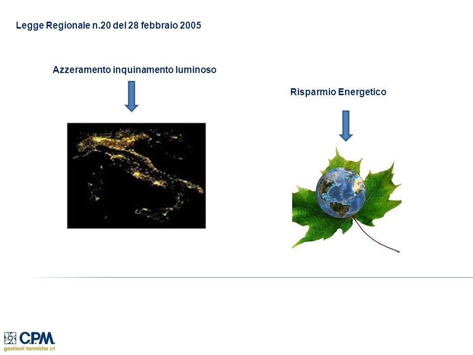 Legge Regionale n.20 del 28 febbraio 2005 Azzeramento inquinamento luminoso Risparmio Energetico