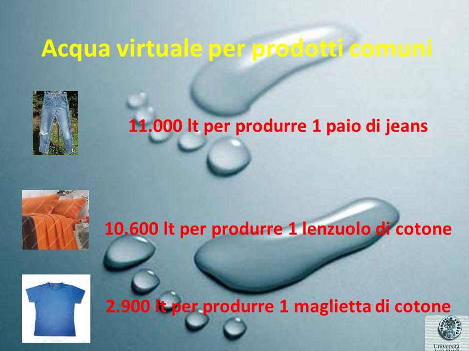 Acqua virtuale per prodotti comuni 11.000 lt per produrre 1 paio di jeans 10.600 lt per produrre 1 lenzuolo di cotone 2.900 lt per produrre 1 maglietta di cotone
