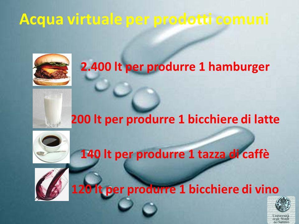 Acqua virtuale per prodotti comuni 2.400 lt per produrre 1 hamburger 200 lt per produrre 1 bicchiere di latte 140 lt per produrre 1 tazza di caffè 120 lt per produrre 1 bicchiere di vino