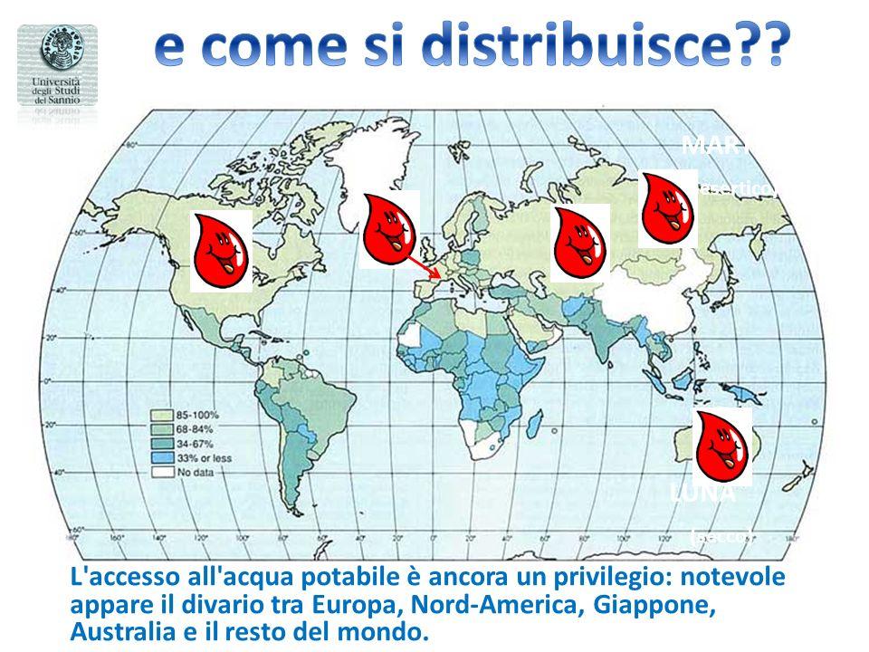 MARTE (desertico) LUNA (secco) L accesso all acqua potabile è ancora un privilegio: notevole appare il divario tra Europa, Nord-America, Giappone, Australia e il resto del mondo.