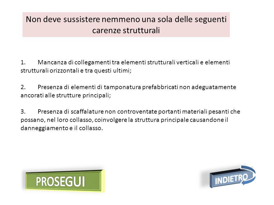 1. Mancanza di collegamenti tra elementi strutturali verticali e elementi strutturali orizzontali e tra questi ultimi; 2. Presenza di elementi di tamp