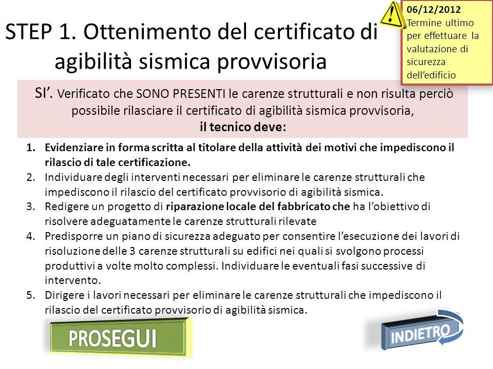 SI. Verificato che SONO PRESENTI le carenze strutturali e non risulta perciò possibile rilasciare il certificato di agibilità sismica provvisoria, il