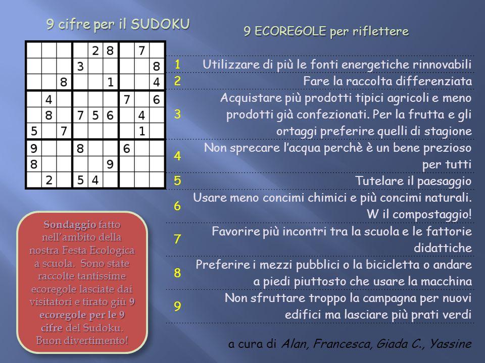 9 cifre per il SUDOKU 9 cifre per il SUDOKU 1 Utilizzare di più le fonti energetiche rinnovabili 2 Fare la raccolta differenziata 3 Acquistare più prodotti tipici agricoli e meno prodotti già confezionati.