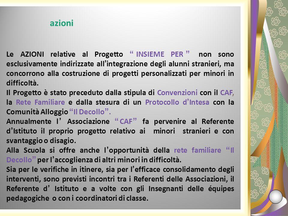 Le AZIONI relative al Progetto INSIEME PER non sono esclusivamente indirizzate allintegrazione degli alunni stranieri, ma concorrono alla costruzione