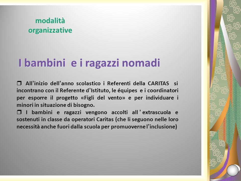 modalità organizzative I bambini e i ragazzi nomadi I bambini e i ragazzi nomadi Allinizio dellanno scolastico i Referenti della CARITAS si incontrano