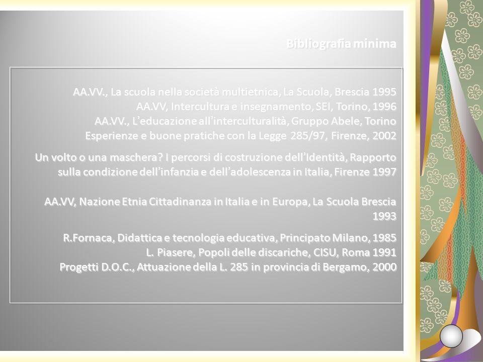 AA.VV., La scuola nella società multietnica, La Scuola, Brescia 1995 AA.VV, Intercultura e insegnamento, SEI, Torino, 1996 AA.VV., Leducazione allinte