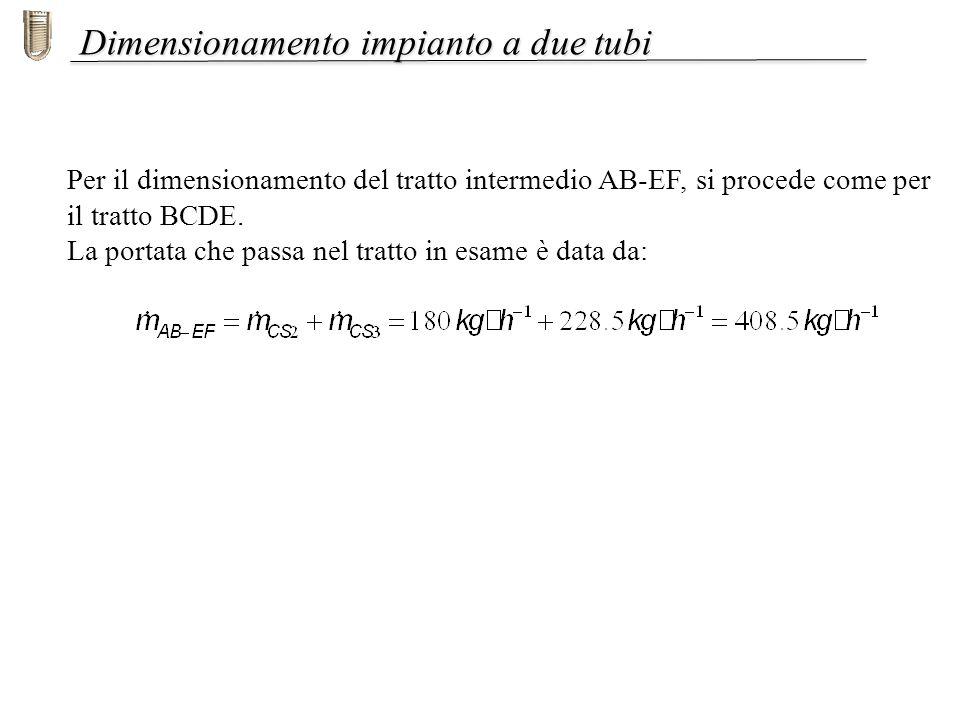 Dimensionamento impianto a due tubi Per il dimensionamento del tratto intermedio AB-EF, si procede come per il tratto BCDE. La portata che passa nel t