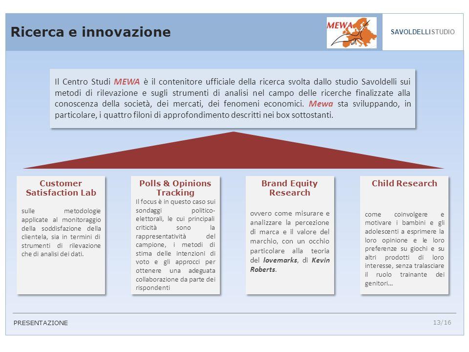 Ricerca e innovazione 13/16 SAVOLDELLISTUDIO Customer Satisfaction Lab sulle metodologie applicate al monitoraggio della soddisfazione della clientela