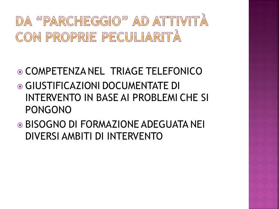 COMPETENZA NEL TRIAGE TELEFONICO GIUSTIFICAZIONI DOCUMENTATE DI INTERVENTO IN BASE AI PROBLEMI CHE SI PONGONO BISOGNO DI FORMAZIONE ADEGUATA NEI DIVER