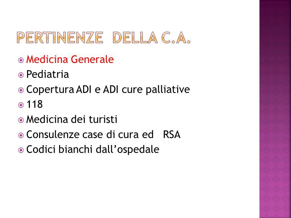 Medicina Generale Pediatria Copertura ADI e ADI cure palliative 118 Medicina dei turisti Consulenze case di cura ed RSA Codici bianchi dallospedale