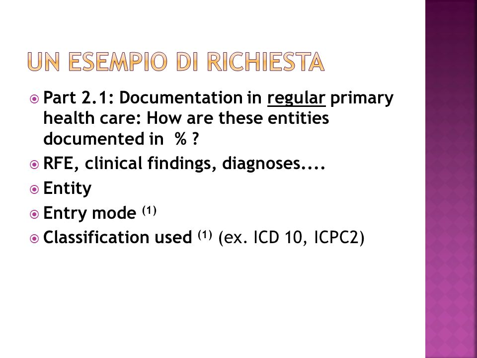 Part 2.1: Documentation in regular primary health care: How are these entities documented in % .