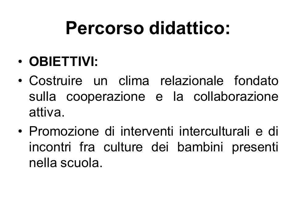 Percorso didattico: OBIETTIVI: Costruire un clima relazionale fondato sulla cooperazione e la collaborazione attiva. Promozione di interventi intercul
