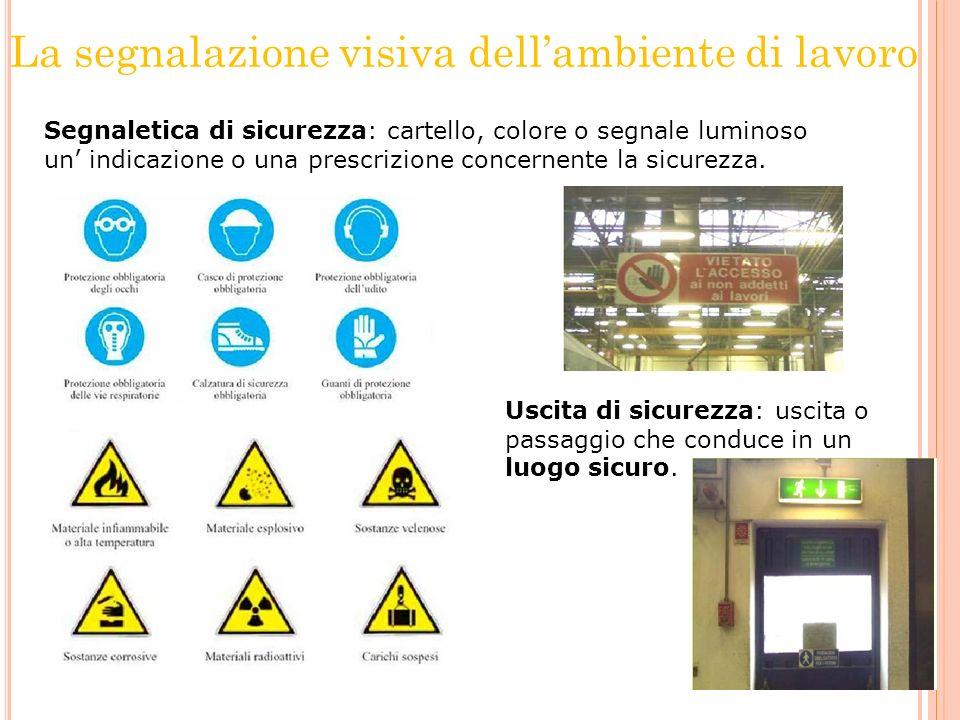 La segnalazione visiva dellambiente di lavoro Segnaletica di sicurezza: cartello, colore o segnale luminoso un indicazione o una prescrizione concerne
