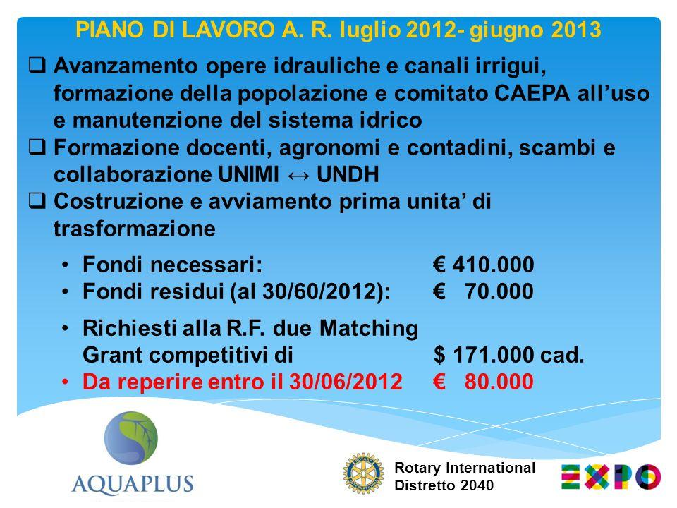 PIANO DI LAVORO A. R. luglio 2012- giugno 2013 Avanzamento opere idrauliche e canali irrigui, formazione della popolazione e comitato CAEPA alluso e m