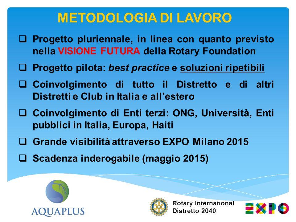 Rotary International Distretto 2040 Progetto pluriennale, in linea con quanto previsto nella VISIONE FUTURA della Rotary Foundation Progetto pilota: b