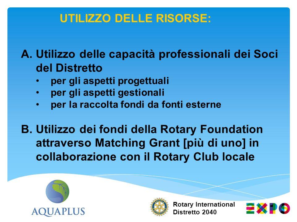 Rotary International Distretto 2040 UTILIZZO DELLE RISORSE: A.Utilizzo delle capacità professionali dei Soci del Distretto per gli aspetti progettuali