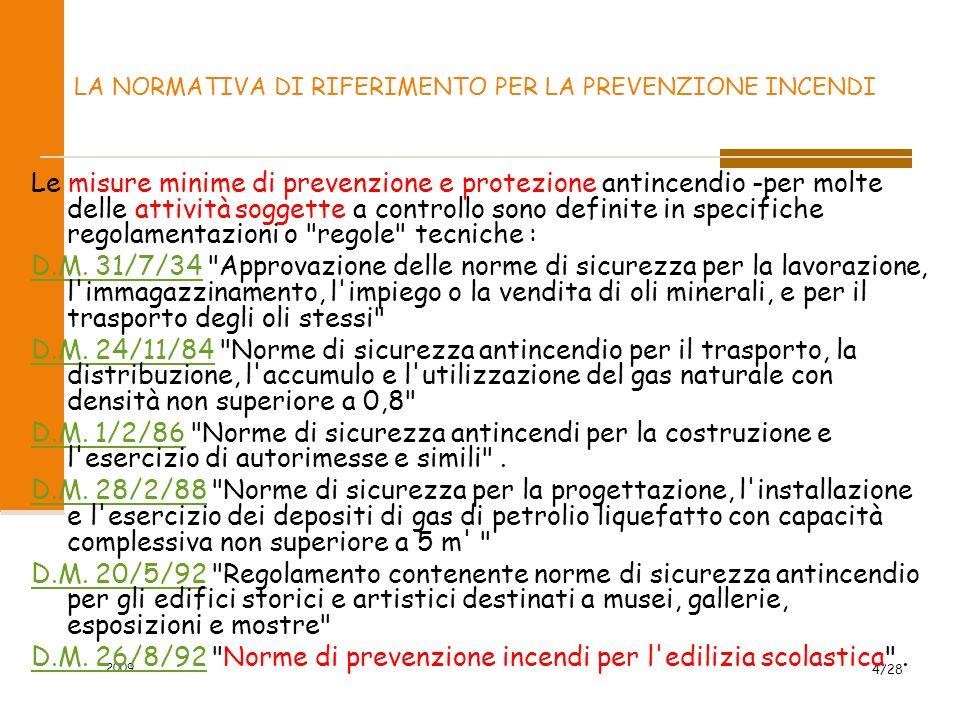 2009 4/28 LA NORMATIVA DI RIFERIMENTO PER LA PREVENZIONE INCENDI Le misure minime di prevenzione e protezione antincendio -per molte delle attività soggette a controllo sono definite in specifiche regolamentazioni o regole tecniche : D.M.