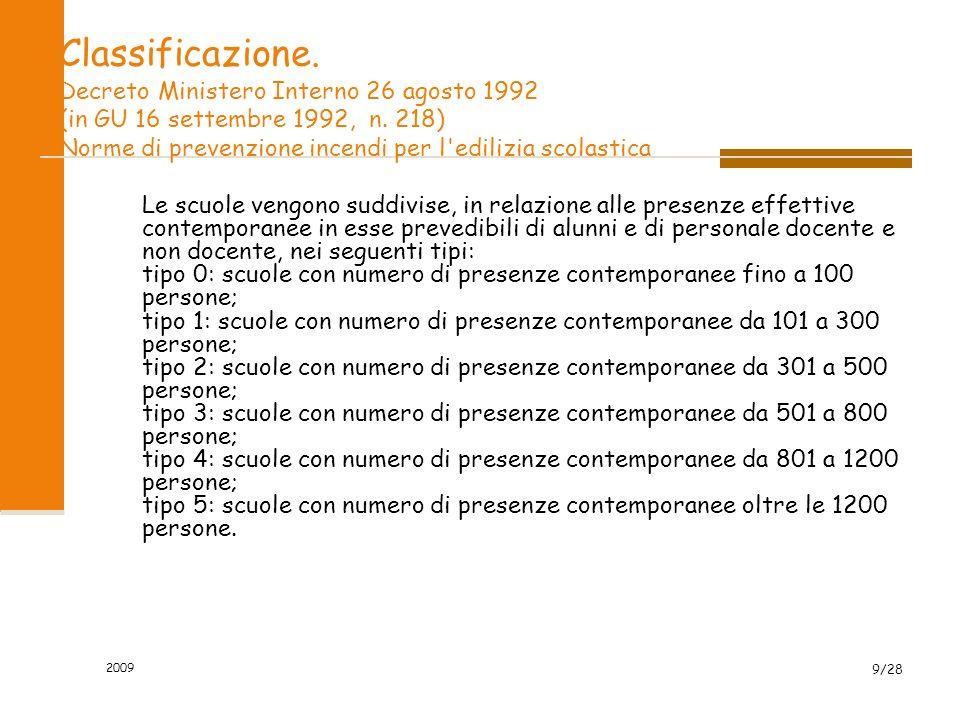 2009 9/28 Classificazione.Decreto Ministero Interno 26 agosto 1992 (in GU 16 settembre 1992, n.
