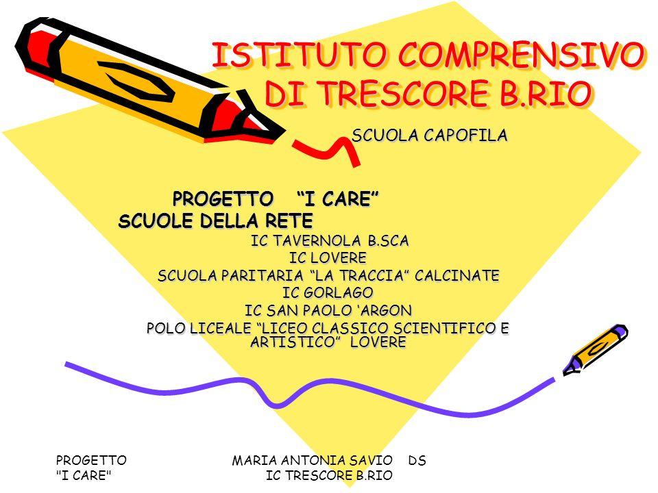 PROGETTO I CARE MARIA ANTONIA SAVIO DS IC TRESCORE B.RIO PATTO FORMATIVO DI RETE PER UNA EFFICACE RICERCA- AZIONE