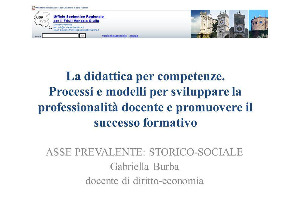 La didattica per competenze. Processi e modelli per sviluppare la professionalità docente e promuovere il successo formativo ASSE PREVALENTE: STORICO-