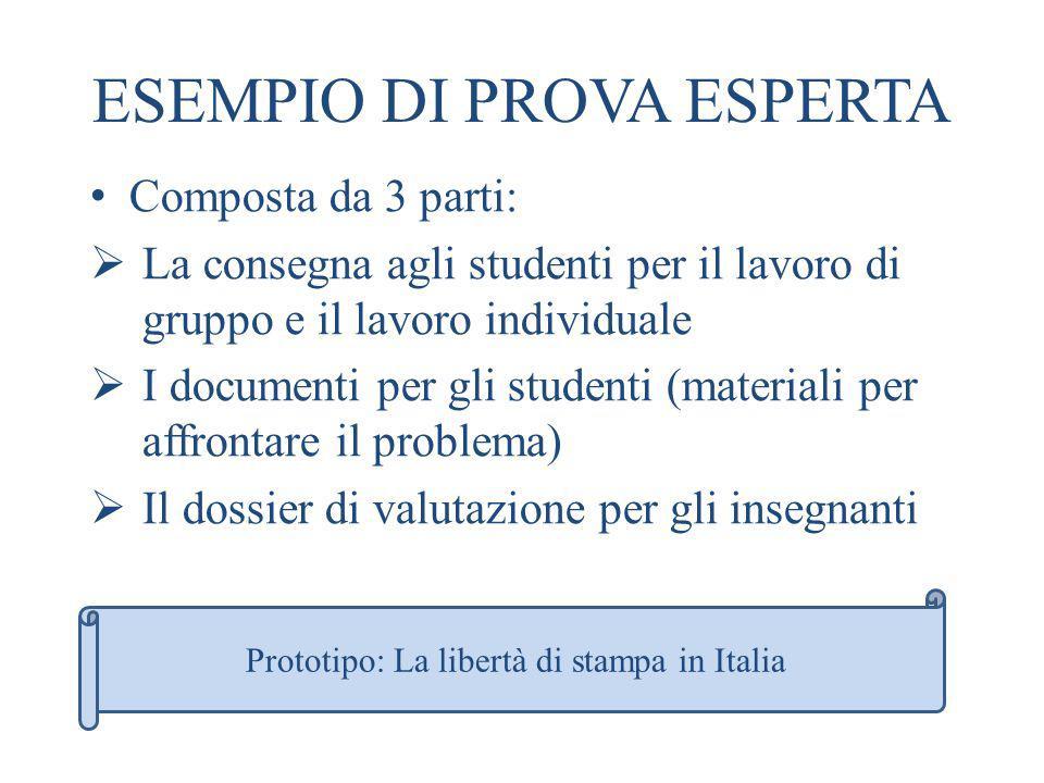 ESEMPIO DI PROVA ESPERTA Composta da 3 parti: La consegna agli studenti per il lavoro di gruppo e il lavoro individuale I documenti per gli studenti (