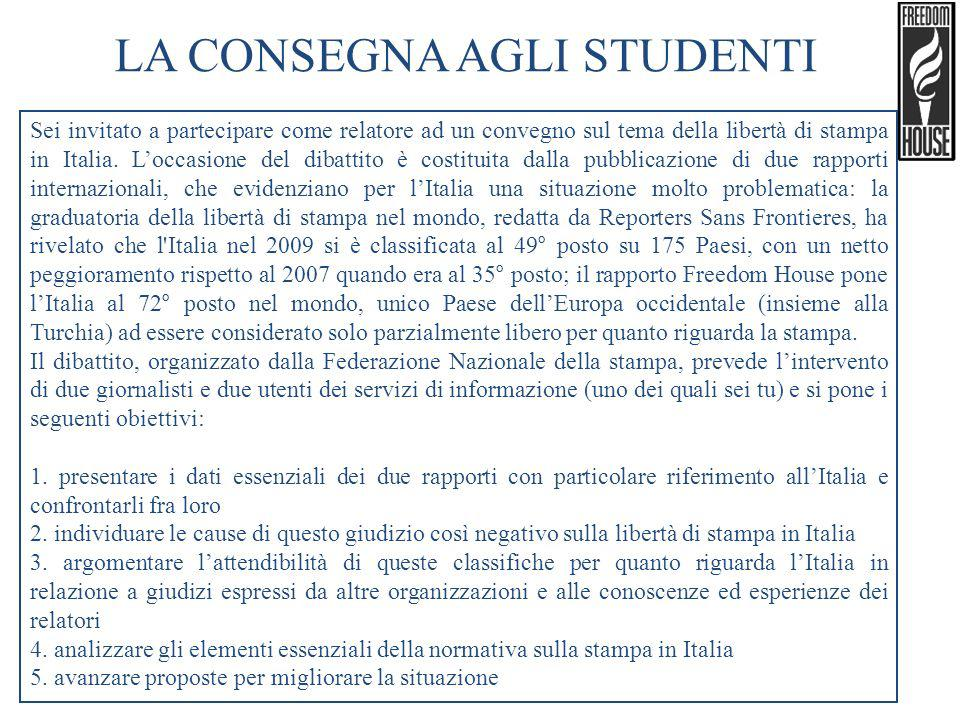 LA CONSEGNA AGLI STUDENTI Sei invitato a partecipare come relatore ad un convegno sul tema della libertà di stampa in Italia. Loccasione del dibattito