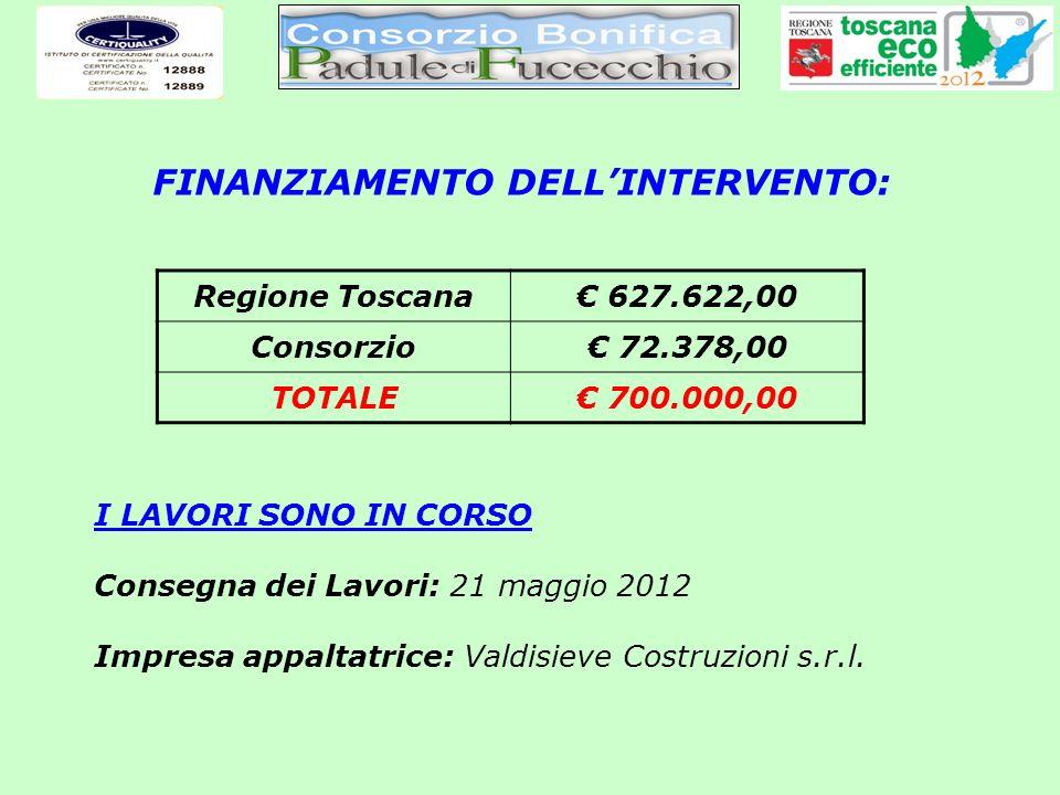 FINANZIAMENTO DELLINTERVENTO: Regione Toscana 627.622,00 Consorzio 72.378,00 TOTALE 700.000,00 I LAVORI SONO IN CORSO Consegna dei Lavori: 21 maggio 2